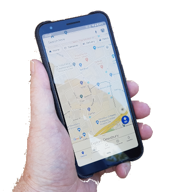 Photo of smartphone showing map